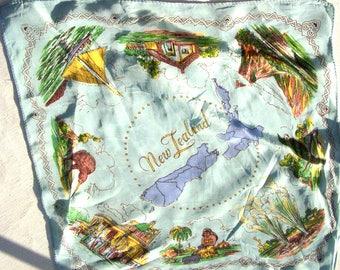 Vintage New Zealand souvenir shiny handkerchief, quirky hanky circa 1960's-70's