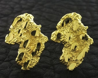 Yellow Gold Nugget Stud Earrings, Nugget Earrings, Gold Nugget  Earrings, Gold Nugget Stud Earrings
