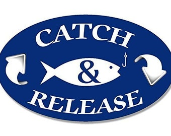 Oval Catch & Release Arrow Up And Down Sticker (Fish And Fishing)