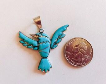 Turquoise Hummingbird Pendant-Turquoise Gemstone Pendant
