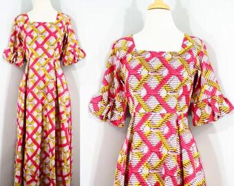 1990s from 1970s Pattern Pink Wax Print Cotton Maxi Dress, Extra Small to Small | 70s Vintage Hawaiian Pattern Dress (XS, S, 34-28-Free)