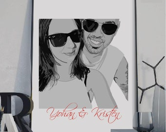 Personalized custom wedding portrait, Valentines Day, Wedding anniversary gift, gift for wife, Wedding Portrait, Wedding gift