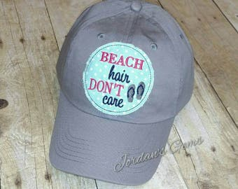 Beach Hair Don't Care Flip Flops Grey Embroidered Raggy Patch Solid Baseball Cap Hat