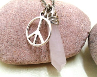 Peace and Love Necklace, Rose Quartz and Peace Necklace, Peace Sign, Gemstone Necklace, Hippie Necklace, Boho, For Her, Mother's Day Gift