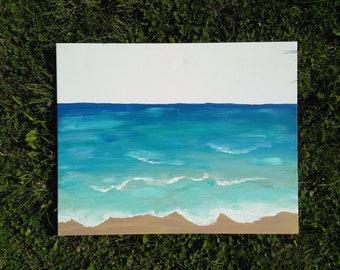 Ocean painting|canvas painting| Hand painted| ocean waves| beach decor| simple art| ocean art| canvas art|