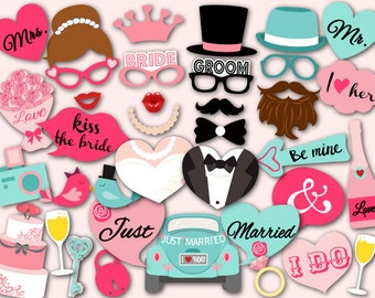 Digital Wedding Photo Booth Props, Printable Wedding Party PhotoBooth Props, Instant Download Wedding Party Photo Booth Props 0024