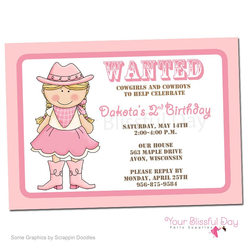 PRINTABLE Cowgirl Party Invitations 523