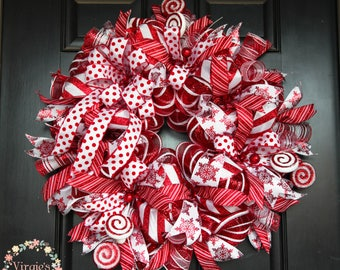 Premium Deluxe Christmas Peppermint Wreath, Christmas Deco Mesh Wreath, Red and White Holiday Wreath, Candy Cane, Peppermint Colors