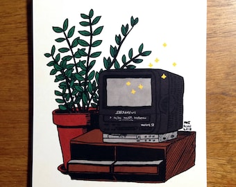 "VHS TV with a ZZ Plant - 5x6"" Art Print"