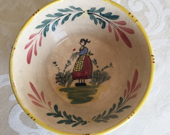 Vintage Antique Quimper Pottery Peasant Bowl Brittany French Faience Yellow & White Earthenware Small French Soup Bowl Hand Painted #2