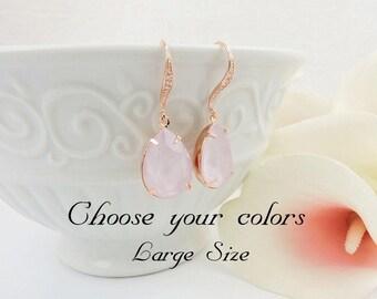 FREE US Ship Rose Gold Powder Rose Swarovski Teardrop Bridal Earrings Swarovski Powder Rose Bridal Earrings Pastel Rose Crystal Earrings