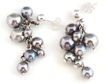 Sterling Silver Post Earrings with Cascading Vintage Blue Silver Pearls