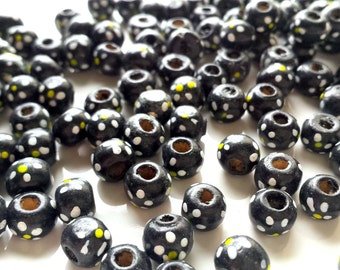 Black spotted rondelle beads x 50, Black beads, Wooden beads, Spotty beads