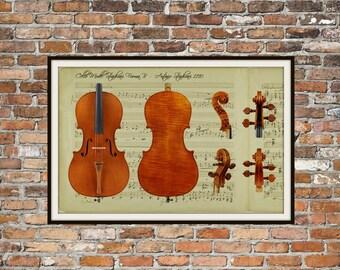 Cello, Antonio Stradivari Stradivarius B Musical Instrument Technical Drawings Engineering Drawings Patent Blue Print Art Item 0215