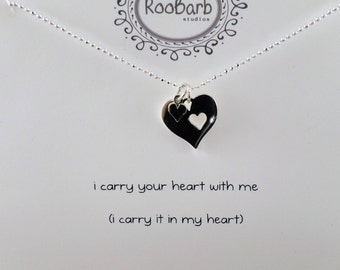 Heart within Heart Charm Necklace - Sterling Silver