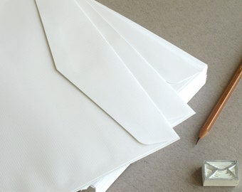 """50 C5 White Envelopes - made of ribbed paper - triangle flap - for A5 cards & invitations - Size: 6 3/8""""x9"""""""