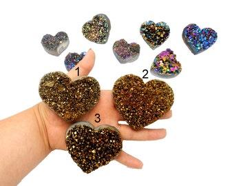 Druzy Heart - Copper Colored Titanium Heart Shaped Druzy Cabochon - You Choose (RK512B6-04)