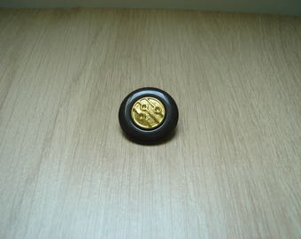 button and golden brown shape round vintage