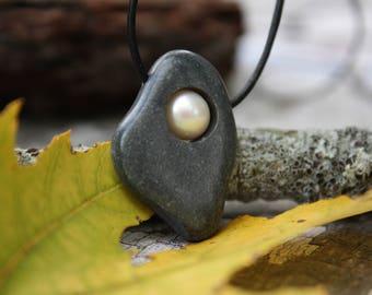Beach stone necklace, Lake Superior rock and pearl necklace, beach pebble necklace, stone jewelry, river rock, beach stone