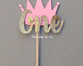 12 First birthday cupcake topper, Cake toppers Toppers, Gold and pink toppers, First birthday