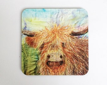 Highland cow coasters ~ animal coasters  ~ nature coasters ~ highland cow print ~ animal lovers gifts