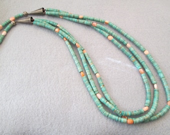 Phenomenel Old Navajo Genuine TURQUOISE HEISHI 3 Strand Necklace w/Spiny Oyster>Vintage 1950's>green/blue color>Absolutely Exquisite -JNN021