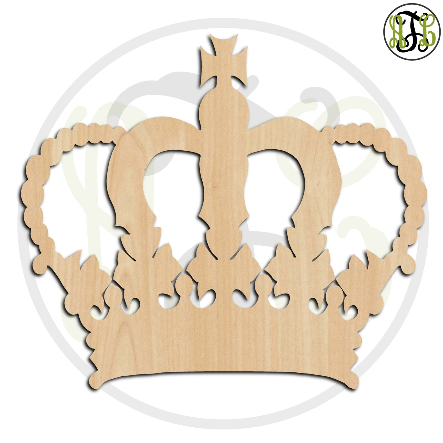 Crown 17- 24417- Cutout, unfinished, wood cutout, wood craft, laser ...