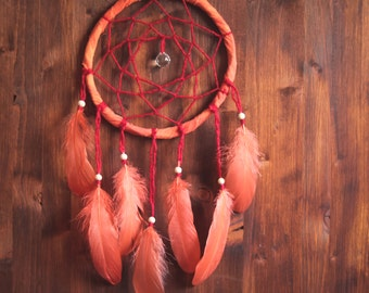 Dream Catcher -With Sparkling Crystal Prism, Red Frame and Orange Feathers - Boho Home Decor, Nursery Mobile
