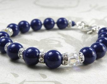Navy Blue Bracelet, Swarovski Pearl Lapis Lazuli Color, Royal, Sterling Silver, Rhinestones, Bridesmaid Wedding Handmade Jewelry, for Her