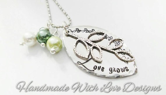 Love Grows Hand Stamped Necklace