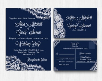 DIGITAL, Lace Wedding Invitation SET, Navy Lace wedding invite, Printable file, Wedding Invitation, RSVP card, Invite, blue lace wedding