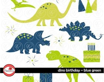 Dino Birthday Blue & Green: Clip Art Pack (300 dpi transparent png) Card Making Digital Scrapbook Dinosaur Blue Sage Green Boy Birthday