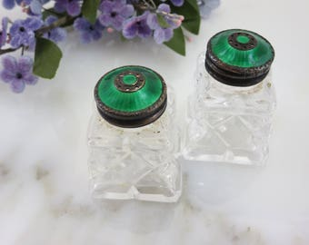 Cut Glass Salt and Pepper Shakers - Green Guilloche Enamel on Sterling Silver Tops, Hroar Prydz Norway