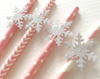 12 Snowflake Party Straws, Silver Snowflake Paper Straws, Snowflake Baby Shower,  Snowflake Birthday, Cake Pop Sticks, Silver and Pink