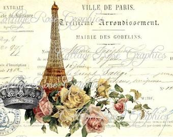 Vintage French image Ville de Paris French Script Eiffel tower Large digital download BUY 3 get one FREE ecs