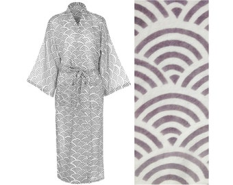 Kimono Robe Dressing Gown - Light Cotton Hand Printed Fabric Cotton for Women - Gray Long Gown - Grey Robe - Light Cotton Bathrobe  sc 1 st  Etsy : robe lighting usa - www.canuckmediamonitor.org