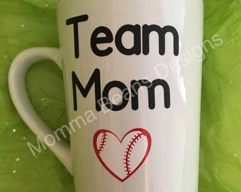 Team Mom custom mug