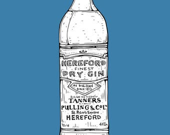 Hereford Dry Gin // A4 Archival Giclee Print // by Amy Rose