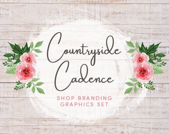 Rustic Country Rose Shop Branding Cover Photo Banners, Icons, Business Card, Logo Label + More - 13 Premade Graphics - COUNTRYSIDE CADENCE
