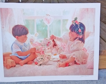 Tea for Two by Jean Monti watercolor art print signed in the print and by hand and numbered 104/950 by the artist limited edition