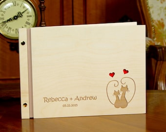 Engraved Wedding Guest Book Personalized Custom Book Wooden Cats