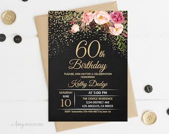 60th birthday invite Etsy