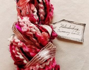 Passionate hot pink blush satin tinsel ribbon black twine pom fringe Novelty Fiber Yarn Sampler Bundle