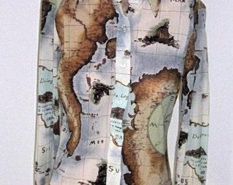 Vintage 70's Long Sleeve Slinky MOD Sheer Nylon Crepe Women's Long Sleeve Blouse-Ancient World Map Peach Brown & Aqua