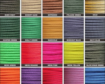 25ft of 550 Paracord Mil Spec Type III 7 strand parachute cord Fast Shipping made in the U.S.A. Huge Selection