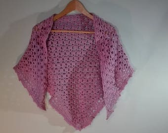 triangle crochet shawl, light purple crochet scarf, crochet wrap