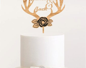 Antlers wedding cake topper rustic cake topper wedding unique names cake topper wood custom cake topper rustic wedding topper antler topper