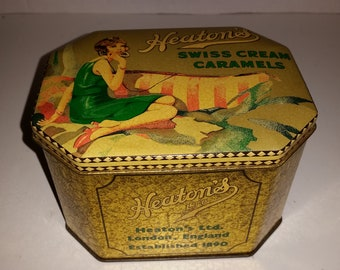 Heaton's / Art Deco / Flapper Tin / Swiss Caramels / Candy Canister / Advertising / England / Pin Up /Decorative Storage /Tin Can /Sale /CIJ