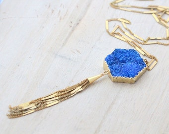 Druzy Tassel Necklace , Long Statement Hexagon Necklace in Brass , Gold Toned Blue Gemstone , Modern Boho Fashion - Ridgeline