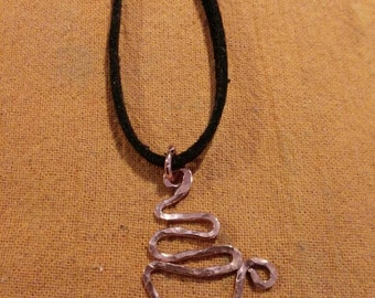 """Coffee or Tea? Necklace with a Hand formed and hammered copper wire """"coffee mug"""" or """"tea cup"""". Price is per cup."""